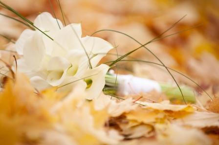 Svadobná kytica v jesennom lístí
